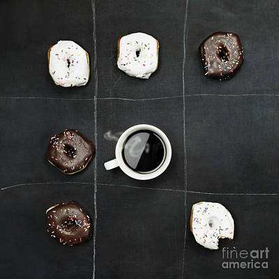 Art Print featuring the photograph Tic Tac Toe Donuts And Coffee by Stephanie Frey