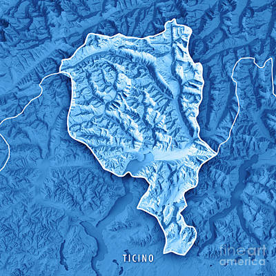 Ticino Canton Switzerland 3d Render Topographic Map Blue Border Art Print by Frank Ramspott
