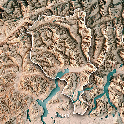 Ticino Canton Switzerland 3d Render Topographic Map Neutral Bord Art Print by Frank Ramspott