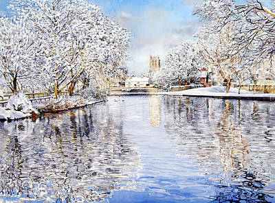 Christmas Greeting Painting - Tickhill Duck Pond by Matthew Phinn