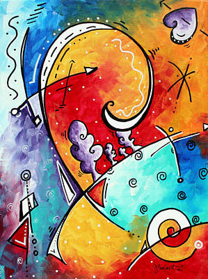 Contemporary Black Art Painting - Tickle My Fancy Original Whimsical Painting by Megan Duncanson