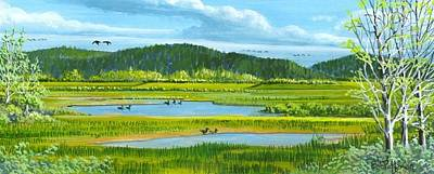 Washington State Skagit County Painting - Tidal Ponds by Bob Patterson