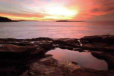 Photograph - Tidal Pool And Dawn Sky, Acadia National Park   by Roupen  Baker