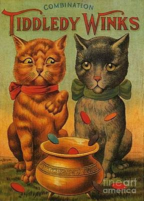 Tiddledy Winks Funny Victorian Cats Art Print by Peter Gumaer Ogden Collection