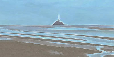 Painting - Tide In The Bay Of Mont Saint Michel by Menega Sabidussi
