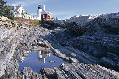 Tide Pool Reflection Pemaquid Point Lighthouse Maine Art Print by George Oze