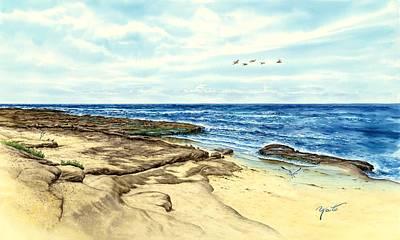 La Jolla Cove Painting - Tide Pools At La Jolla, Ca by John YATO