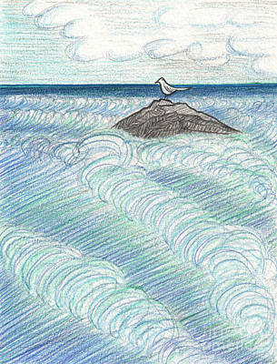 Drawing - Tide Watching By Jrr by First Star Art