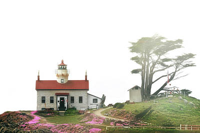 Tides Of Battery Point Lighthouse - Northern Ca Art Print