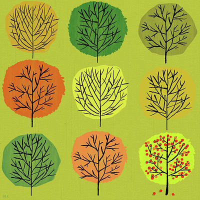 Trees Painting - Tidy Trees All In Pretty Rows by Little Bunny Sunshine