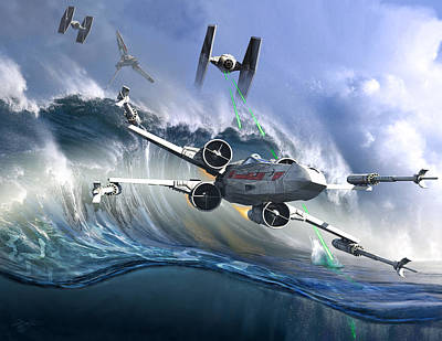 Battle Over Kamino - The Tie Dal Wave Art Print by Kurt Miller