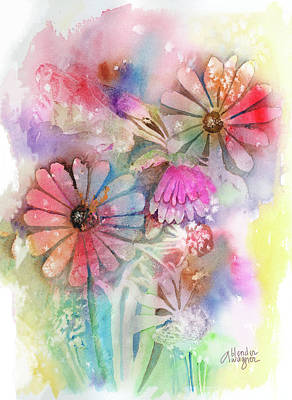 Daisy Painting - Tie Dye Daisies by Arline Wagner