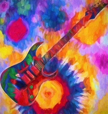 Rock N Roll Digital Art - Tie Dye Guitar by Dan Sproul