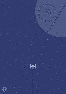 Tie Fighter Defends The Death Star Art Print by Samuel Whitton