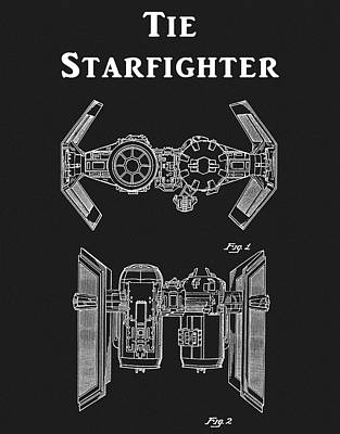 Drawing - Tie Fighter Patent by Dan Sproul