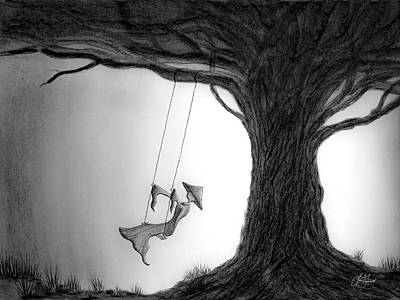 Drawing - Tie Up A Swing by Lori Grimmett