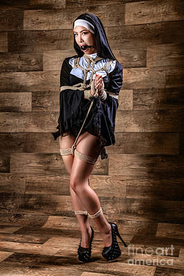 Photograph - Tied, Gagged Nun - Fine Art Of Bondage by Rod Meier