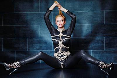 Bondage Photograph - Tied In Black Catsuit - Fine Art Of Bondage by Rod Meier