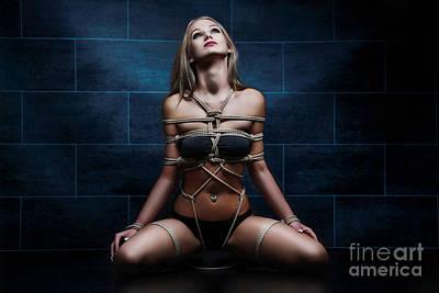 Nudeart Photograph - Tied In Rope Harness - Fine Art Of Bondag by Rod Meier