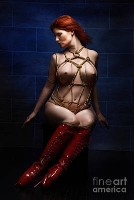 Photograph - Tied, Red Ballet Heels - Truth Burlington - Fine Art Of Bondage by Rod Meier