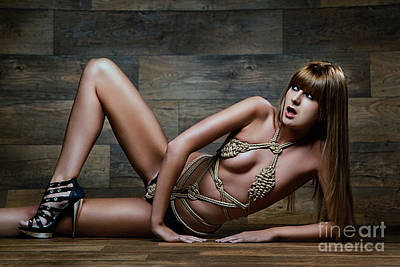 Fetish Photograph - Tied Rope Bikini - Fine Art Of Bondage by Rod Meier