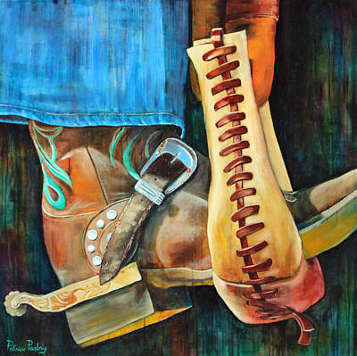 Cowgirl Boot Painting - Tied Stirrup by Patricia Pasbrig