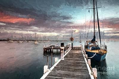Digital Art - Tied Up In Corio Bay by Howard Ferrier