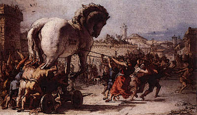 Procession Digital Art - Tiepolo Giovanni Domenico The Procession Of The Trojan Horse In Troy by Giovanni Domenico Tiepolo
