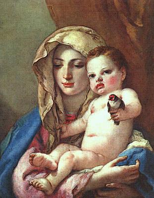 Digital Art - Tiepolo Madonna Of The Goldfinch by Giovanni Battista Tiepolo