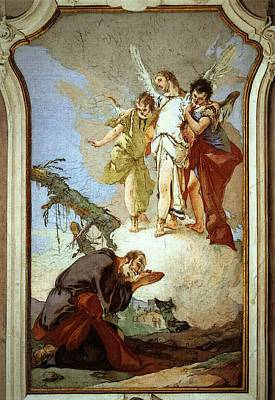 Digital Art - Tiepolo Palazzo Patriarcale The Three Angels Appearing To Abraham by Giovanni Battista Tiepolo