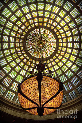 Photograph - Tiffany Ceiling In The Chicago Cultural Center by David Levin
