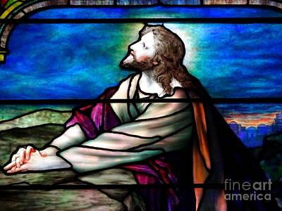 Photograph - Tiffany Glass Jesus Praying by Ed Weidman