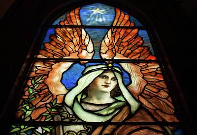 Photograph - Tiffany Stained Glass Angels 1 by Michael Saunders