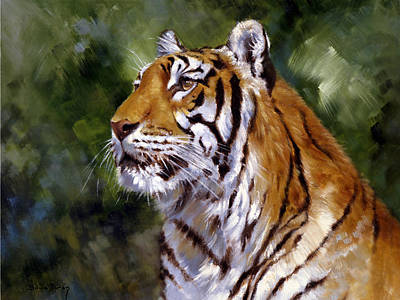 Tigers Print featuring the painting Tiger Alert by Silvia  Duran