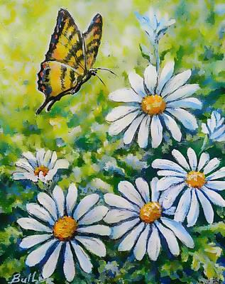 Tiger And Daisies  Art Print