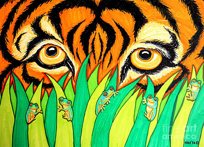 Amphibians Drawing - Tiger And Frogs by Nick Gustafson