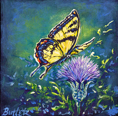 Painting - Tiger And Thistle 1 by Gail Butler