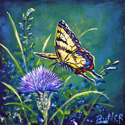 Painting - Tiger And Thistle 2 by Gail Butler