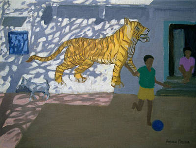 Playing Football Painting - Tiger by Andrew Macara