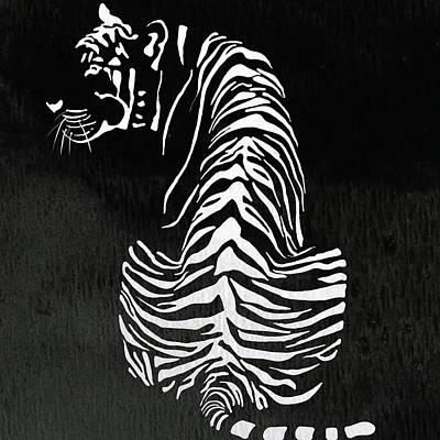 Graphic Painting - Tiger Animal Decorative Black And White Poster 13 - By Diana Van by Diana Van