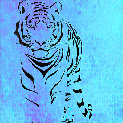 Graphic Painting - Tiger Animal Decorative Blue Poster 6 - By Diana Van by Diana Van