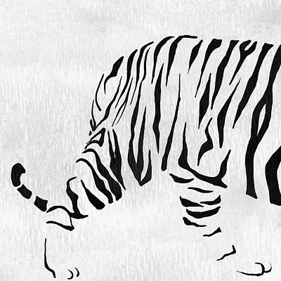 Animal Painting - Tiger Animal Decorative Black And White Poster 9 - By  Diana Van by Diana Van