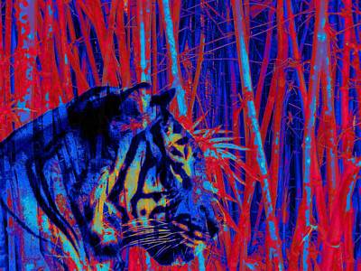 Painting - Tiger Art Blue Red Variant Bamboo by David Mckinney