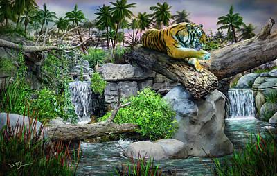 Digital Art - Tiger At Dusk by Don Olea