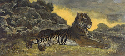 Painting - Tiger At Rest by Antoine-Louis Barye
