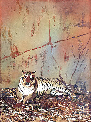 Poured Watercolours Painting - Tiger At Rest by Ryan Fox