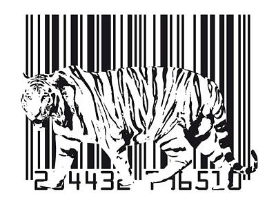 Black Digital Art - Tiger Barcode by Michael Tompsett
