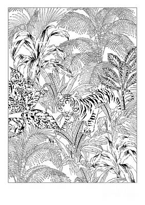 Stripe Drawing - Tiger Black And White by Jacqueline Colley