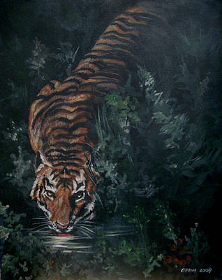 Art Print featuring the painting Tiger by Bryan Bustard