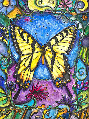 Tiger Butterfly Children Of The Earth Art Print by Patricia Allingham Carlson